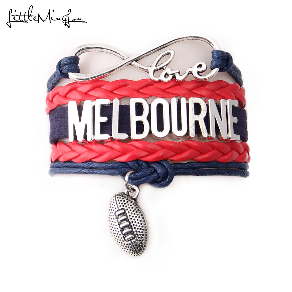 Little MingLou Infinity love MELBOURNE Bracelet football team Charm leather wrap men bracelets & bangles Women jewelry