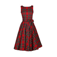 (Ship from US) Women Vintage Plaid Dress Sleeveless Female Dress British  Style Women Spring Summer Clothes 50s 60s Rockabilly Elegant Dress d332661b0223