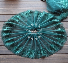 2 Yards Lace Trim Dark green Embroidered flowers Tulle Lace 8.67 Inches Wide High Quality(China)