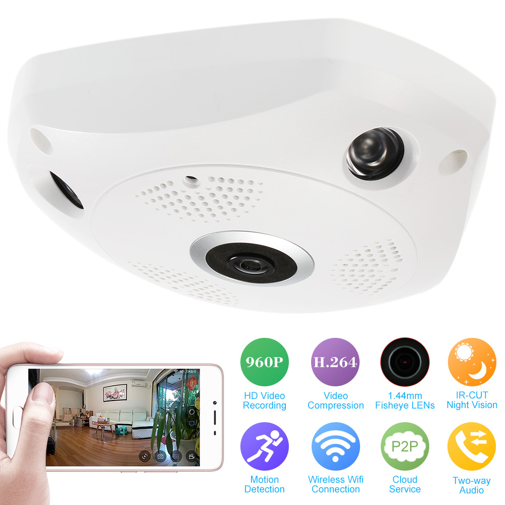 free shipping 360 Degree Panoramic Camera Fisheye Camera HD 960P 1.3MP WIFI IP Camera Home Security Surveillance Camera System<br>