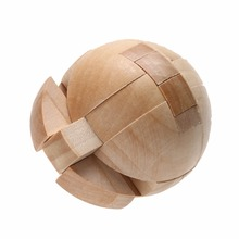 Chinese Traditional 3D Ball Shape Puzzle Wooden Intelligence Luban Kongming Lock/Unlock Brain Teaser Puzzle Educational Toy