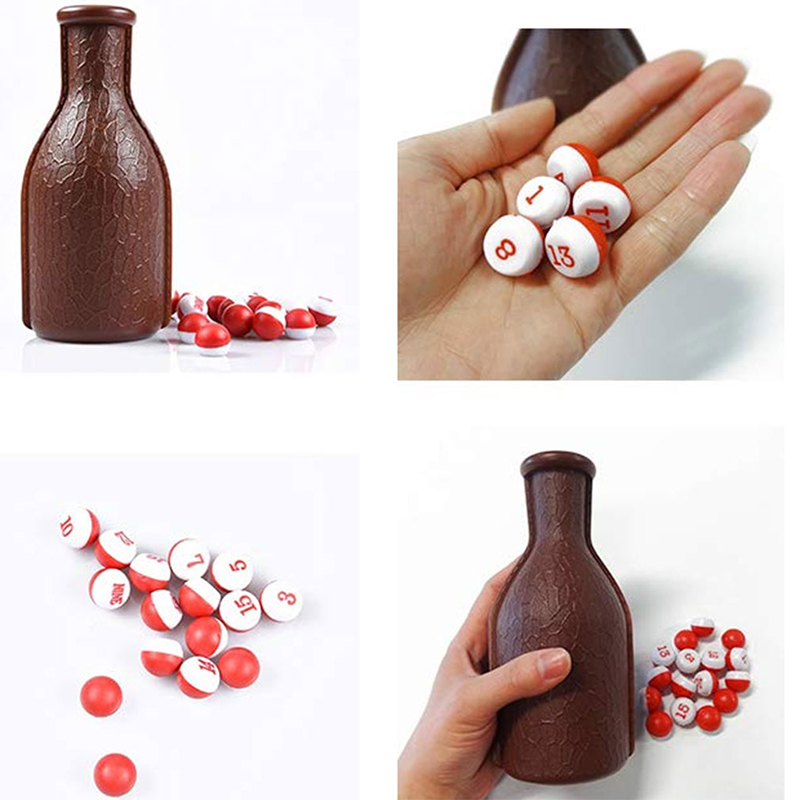 Black Billiard Gift Pool Shaker Bottle 16 Numbered Marbles Tally Peas jian