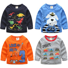 2017 Spring Male Children'S Clothing Child Fancy Basic Multicolor Optional Baby Boy O Neck Animal Car Long-Sleeve T-Shirt