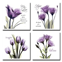 BANMU  4Pcs/Sets Huge Modern Giclee Prints Artwork Love Hope Purple Flowers Pictures Photo Paintings Print on Canvas Wall Art