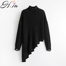 H.SA 2017 Fall Fashion Women Turtleneck Sweaters Irregular Knitted Sweaters Casual Punk Ugly Christmas Jumper Pullovers sudadera(China)