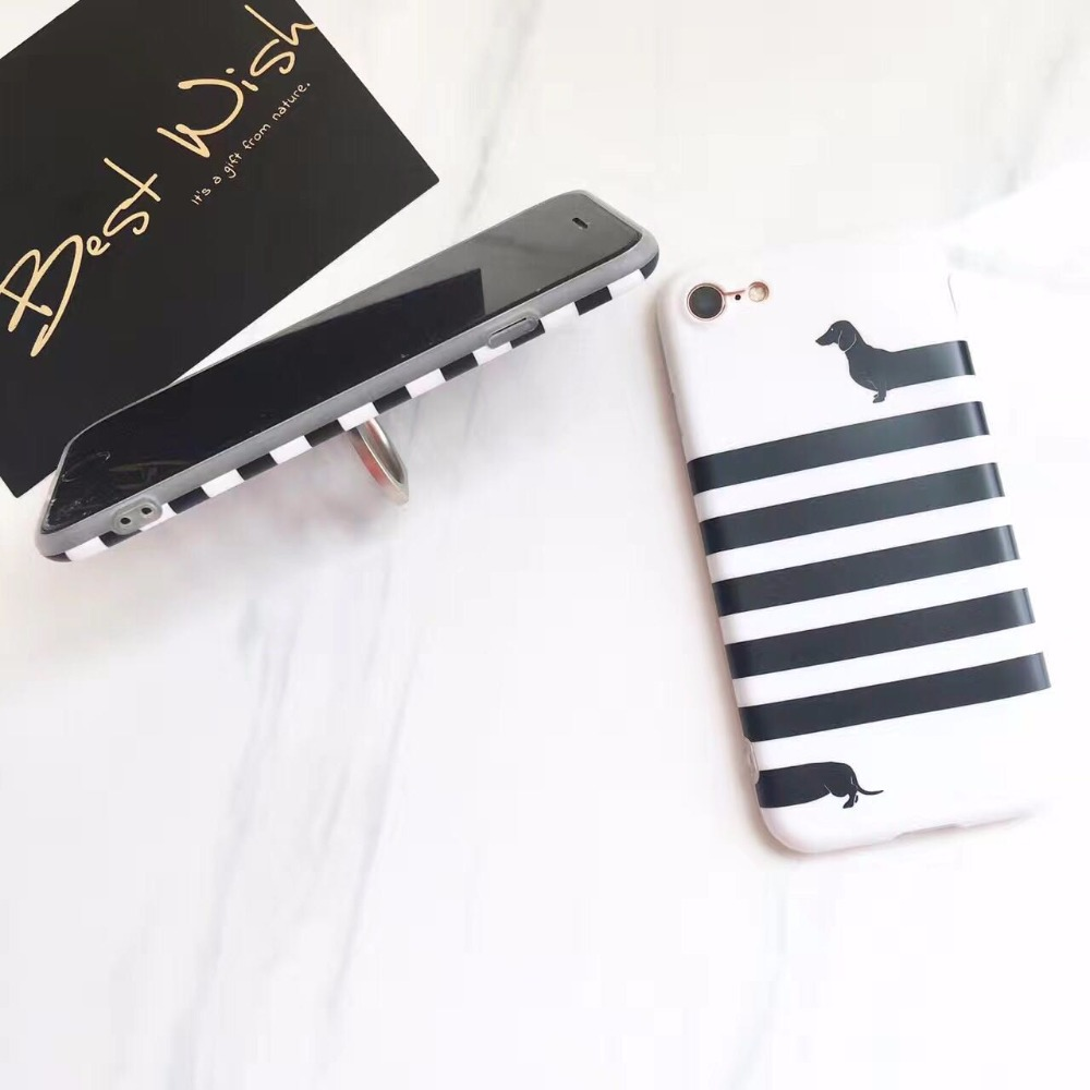 LUDI Brief Soft TPU Funda for iPhone 8 6 7 Plus Cases Dachshund Dog Horizontal Stripes Ring StanderCase for iphone 6s 6 Plus 17
