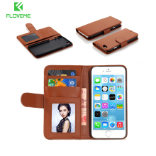 FLOVEME Magnetic Leather Case For iPhone 5 5S SE Wallet Case For iPhone 5s Photo Card Holder Stand Phone Cases For iPhone5 5s(China)