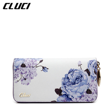CLUCI Women Long Wallet and Purse Fashion National Style Flowers Printing Black/White/Red Elegant Wallet Organizer Purses Lady