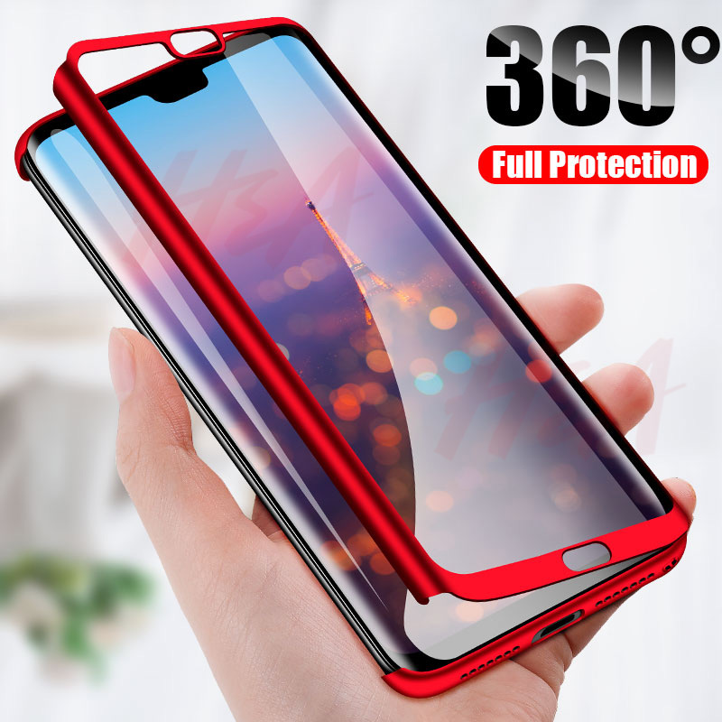 H&A Luxury 360 Degree Full Cover Phone Case For Huawei P20 Lite P20 Pro Screen Protector Phone Cover P20 Lite P20 Pro Case Glass(China)