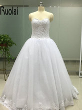 Buy New Arrival 2017 Elegant Sweetheart Sweep Train Ball Gown Wedding Dresses Appliques Beading Bridal Gown Custom Made Lace Back for $191.10 in AliExpress store