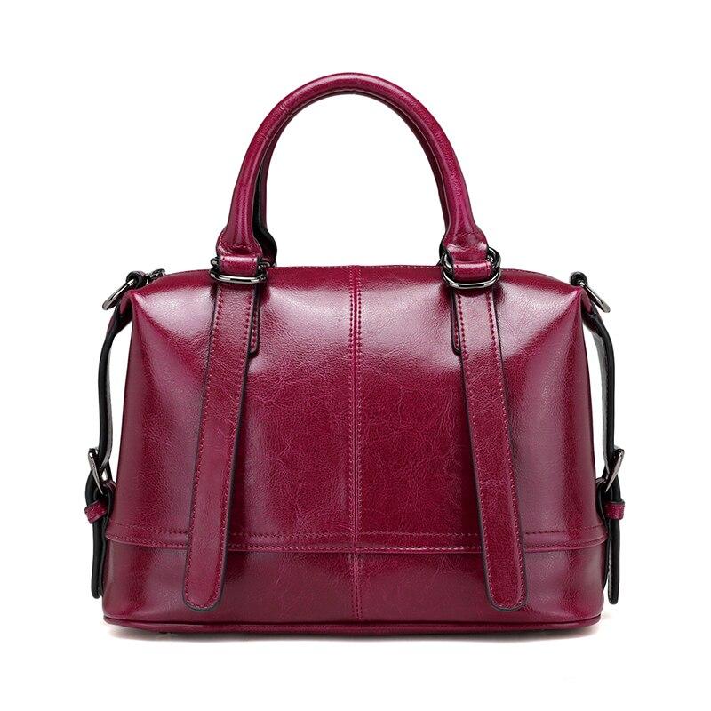 Vintage Cow Leather Ladies HandBags Women Genuine Leather bags Totes Messenger Bags Designer Luxury Shoulder Bag Top-Handle Bag <br>