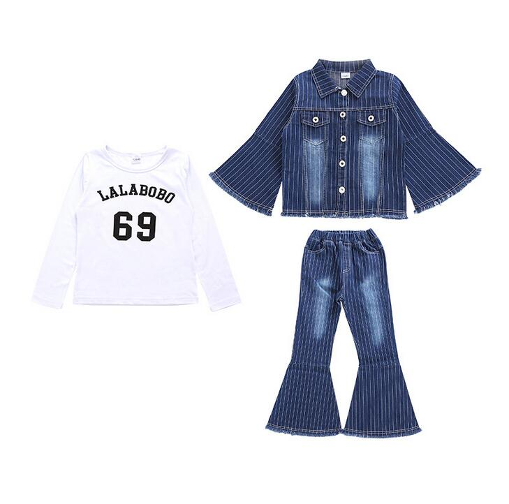 3 Pcs Jeans Suit For Teen Girls tassels Denim Clothing Set Girls ensemble fille Embroidered Coats Jackets + flared Pants + Tees<br>