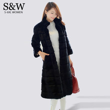 Plus Size 5XL 6XL Winter Maxi Fur Coats Women Stripe Stand Collar X-Long Rabbit Fur Coat Artificial Fur Coat Black Parka Jacket
