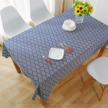 Vintage Style  Canvas Table Cloth Cover Japanese Style Blue Wave Home Hotel Cafe House Party Home Decro 9 size for choose