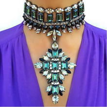 Best lady Big Brand Fashion Luxury Collar Pendant Chokers Boho Wedding Cheap Flowers Maxi Multicolored Statement Necklace 3958(China)