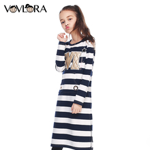 Girls dress autumn 2017 kids dresses for girls long sleeve o-neck cotton Knee-Length fashion kids clothes size 9 10 11 12 13 14Y(China)