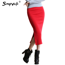 SIMPVALE Stretch Slim Step Skirts Womens Pencil Skirt High Elastic Package Hip Mid Calf Solid Skirt