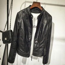 2017 Fashion Women's Slim Short style Motorcycle Leather Jacket Spring Winter Women Black O-neck PU Leather Coat