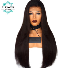 FlowerSeason 13*6 Deep Parting Lace Front Wigs Human Hair For Black Women Indian Remy Hair 180% Density Silky Straight(China)