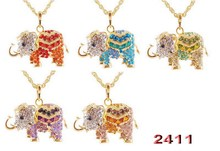 1 pcs free shipping Fashion  Lucky Lovely jewelry accessories bohemia long design vintage rhinestone elephant necklace pendant