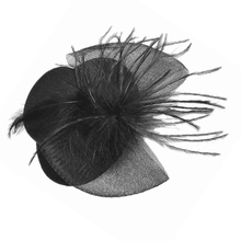 Black Mesh Bowknot Feather Decor Mini Top Hat Alligator Hair Clip(China)