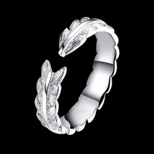Feather unique style Open size larger finger wear 925 silver Rings nice gift box r915 for simple life Party Fashion New Rings(China)