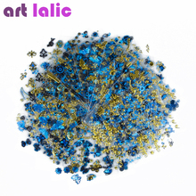 24Pcs/lot 3D Nail Sticker Tree Leaf Butterfly Flora Pattern Stamping Charms Bronzing Blue Gold Silver Nail Art Decal