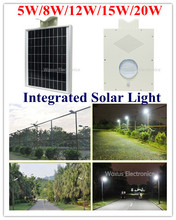 18V Solar Panel 12V 5W/8W/12W/15W/20W LED Street Light Solar Street Garden Park Road Light Lamp with Sensor