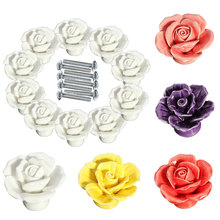 10pcs Vintage Rose Flower Ceramic Door Knobs Handle Drawer  Sale --M25