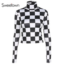 Buy Sweetown Long Sleeve T Shirt Women 2018 Spring Autumn Plaid Womens Clothing Fashion Checkerboard Turtleneck Slim Fit T-Shirt for $12.22 in AliExpress store