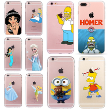 Princess Homer Case for iphone 6 6s 5 5s SE 7 plus Snow White Anna Elsa Alice Cover Simpson Stitch Minions Fundas Soft TPU Coque(China)