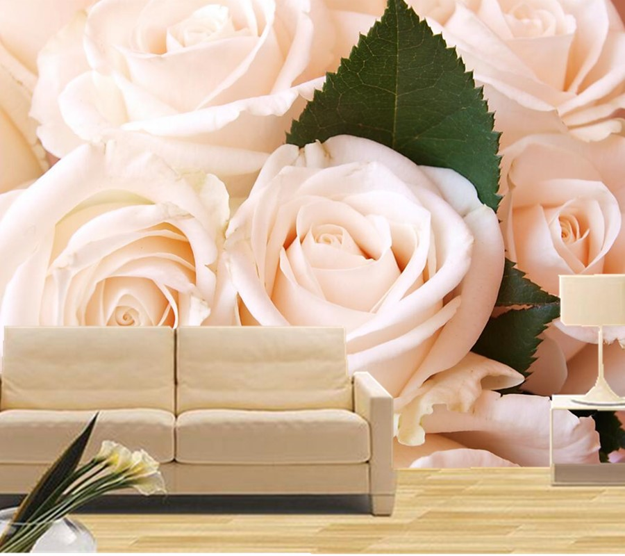 Custom 3D large mural,Pure and fresh white roses wallpaper,hotel coffee shop living room tv sofa background bedroom wallpaper<br>