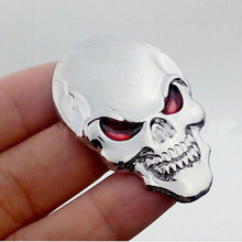 High Quality Cool Car Motor Bike Metal Emblem Badge Decals 3D Skull Bone Sticker 2017 Hot Silver  Hottest Useful