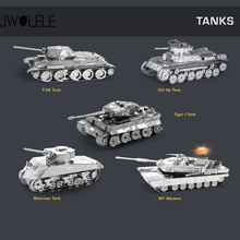 JWLELE DIY Building Assembled Metal Model TANK Puzzle World War II Tiger I Tank Sherman M1 ABRAMS Collection Decoration Toys