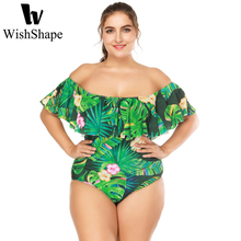 Buy Swimwear Women 2018 One Piece Push Swimsuit Ruffle Monokini Sexy Floral Print Swimming Suit Green Leaf Plus Size XL XXL XXXL