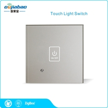 Oujiabao 86 Wall Switch 1 Gang Zigbee HA1.2 Touch Light Switch Single Fire Switch for Home Automation