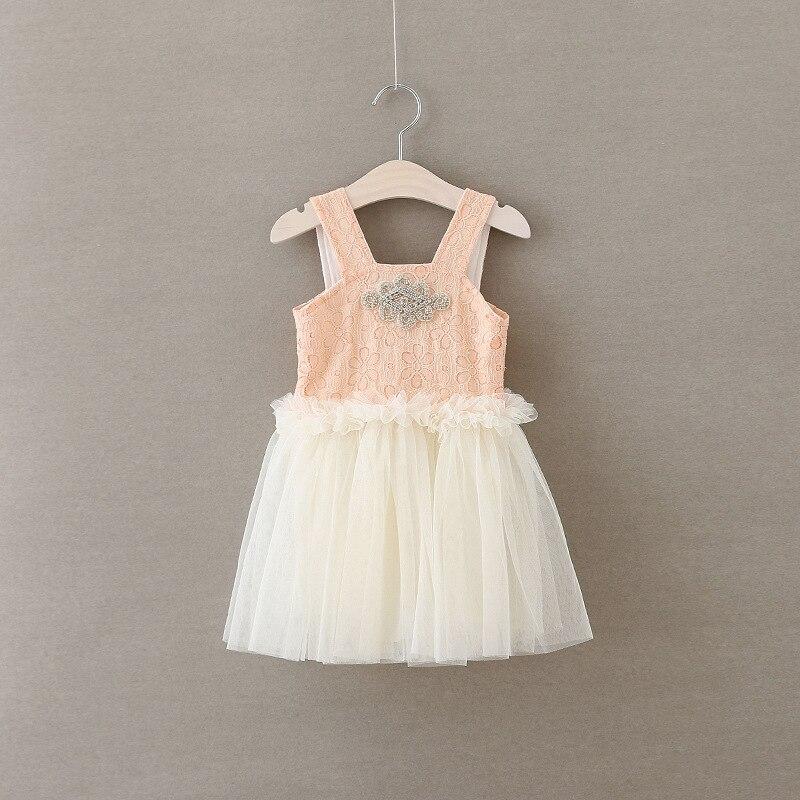 Girls Princess Party Dress Summer Diamond Fashion Girls Pink Lace Sleeveless Tulle Dress Elegant Cute Chiffon Girl Dresses <br>