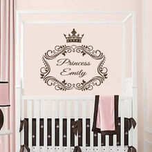 Wall Decals Personalized Name Decal Princess Crown Vinyl Sticker Nursery Name Imperial Crown Wall Sticker Bedroom Girls WW-45(China)