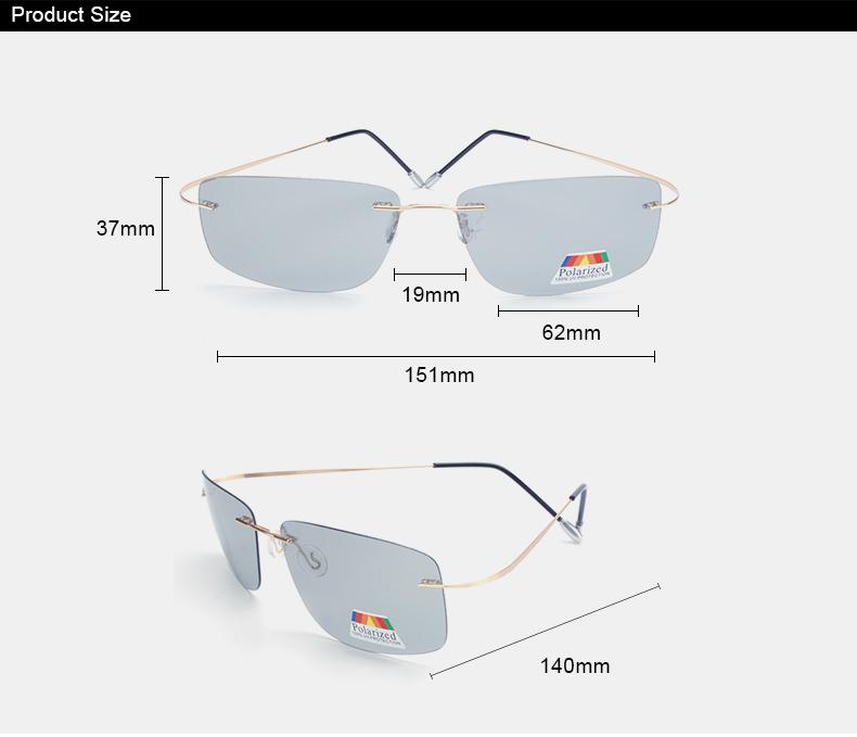 Vazrobe (5s Change Color) Photochromic Sunglasses Men Women Titanium polarized Sun Glasses Chameleon Rimless Anti-glare Driving 2