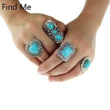 Find Me 2018 4pcs/Set green Vintage Punk rings Unique Carved Antique brand Totem Lucky Beach boho rings sets for women Jewelry(China)