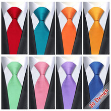 20 Style Solid Mens Ties Neck Ties 8.5cm Silk Gravatas Ties for Men Wedding Suit Dress Blue Orange Red Purple Corbatas Hombre(China)