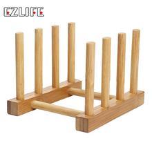Natural Bamboo Folding Dish Drying Rack 3 Pots Lid Flatware Holder Plate Display Holder Wooden Kitchen Storage Organizer XN720