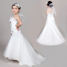 Free Shipping Glamour Dress Child Cheap Flower Girl Dresses With Long Train Vestido De Princesa Dress Prom Kids For Weddings 010