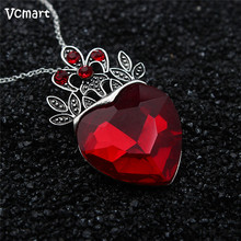 2pcs Valentine's Day Gift Evie Necklace Descendants Red Heart Crown Necklace Queen of Hearts Costume Fan Women Jewelry Pre Teen