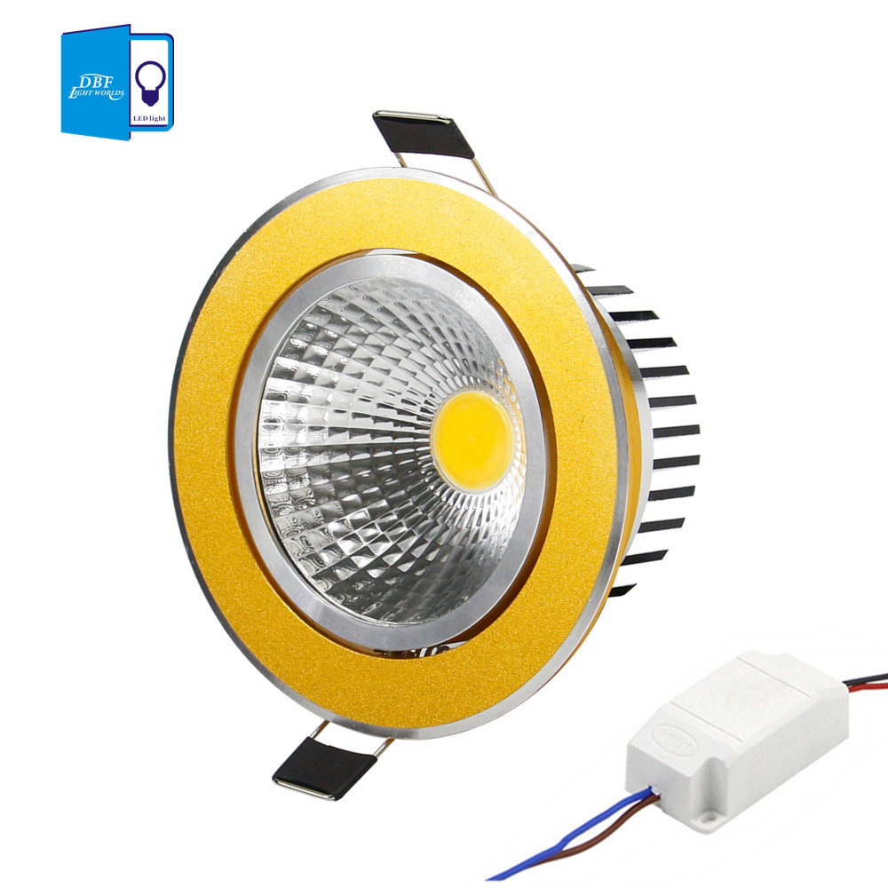[DBF] Super Bright Recessed Gold LED Dimmable Downlight COB 5W 7W 9W 12W LED Spot light LED decoration Ceiling Lamp AC 110V 220V(China (Mainland))