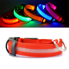 Night Safety LED Dog Collar Flashing In Dark 3 Mode Lighting Nylon LED Pet Cat Collar Luminous Pet Goods For Small Dogs(China)