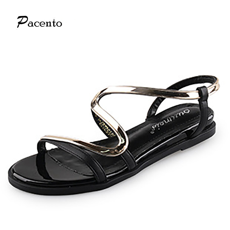 2017 Pacento Fashion New Genuine Leather Sandals Roma Sexy Cross-Tied Bohemia Folk Style Open Toe Flats Flip Flops Women Shoes<br><br>Aliexpress