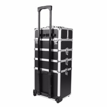 Ship from UK! 5 in 1 Trolley Hairdressing Makeup Beauty Nail Case Art Box Cosmetics Suitcase With Wheels