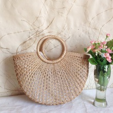 Triple Stone Summer Straw Tote Bag Basket Beach Hand Bag Gypsy Bohemian Ethnic Knitting Woven Women Handbag geometric Pattern