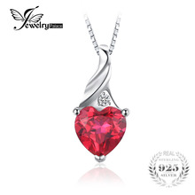 JewelryPalace Love 3.6ct Heart Created Ruby Pendant 925 Sterling Silver Jewelry Romantic Engagement Pendant Not Include A Chain(China)